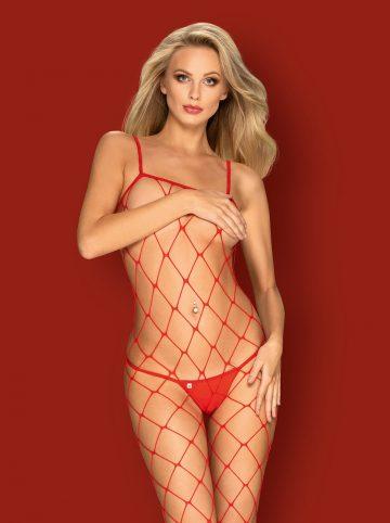 Röd kroppsstrumpa med nät mönster