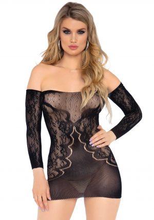 Spetsklänning i svart från Leg Avenue