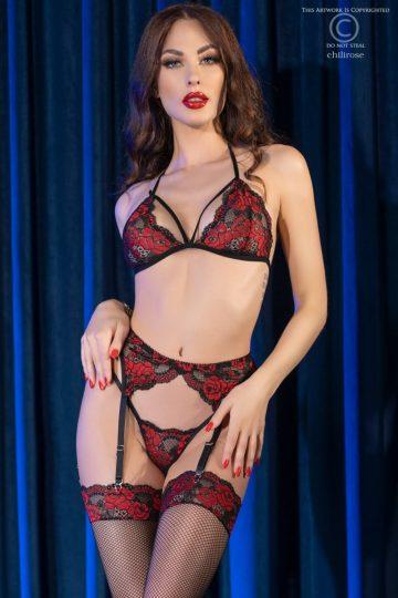 Elegant set i svart och rött